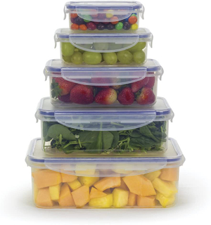 Food Storage Airtight Nested Plastic Containers with Locking Lids