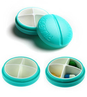Leak Proof Pocket Small 4 Compartment Pill Dispenser Case