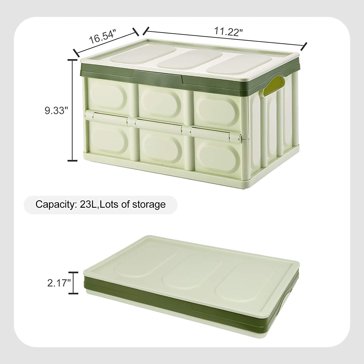 Collapsible Storage Bins with Lid 2 Pack Crates Plastic Tote Storage Box Container